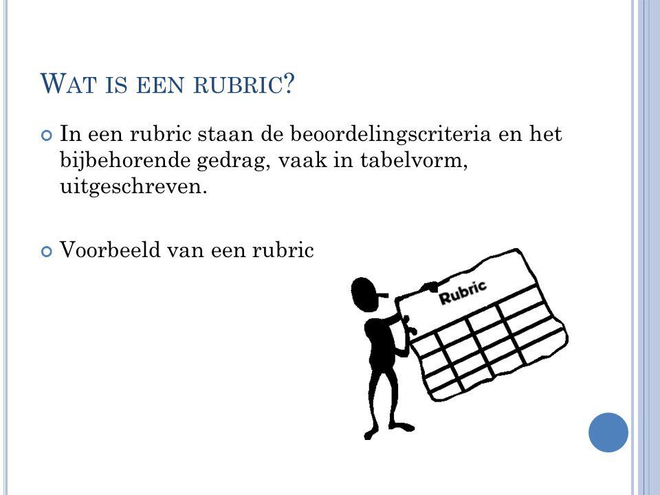 W AT IS EEN RUBRIC ? In een rubric staan de beoordelingscriteria en het bijbehorende gedrag, vaak in tabelvorm, uitgeschreven. Voorbeeld van een rubri