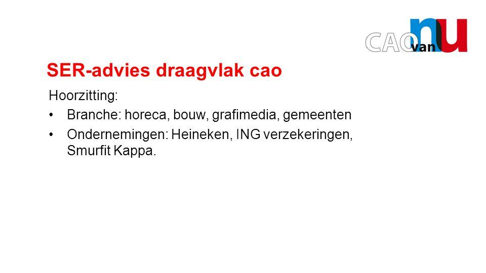 Opening door Hans SER-advies draagvlak cao Hoorzitting: Branche: horeca, bouw, grafimedia, gemeenten Ondernemingen: Heineken, ING verzekeringen, Smurfit Kappa.
