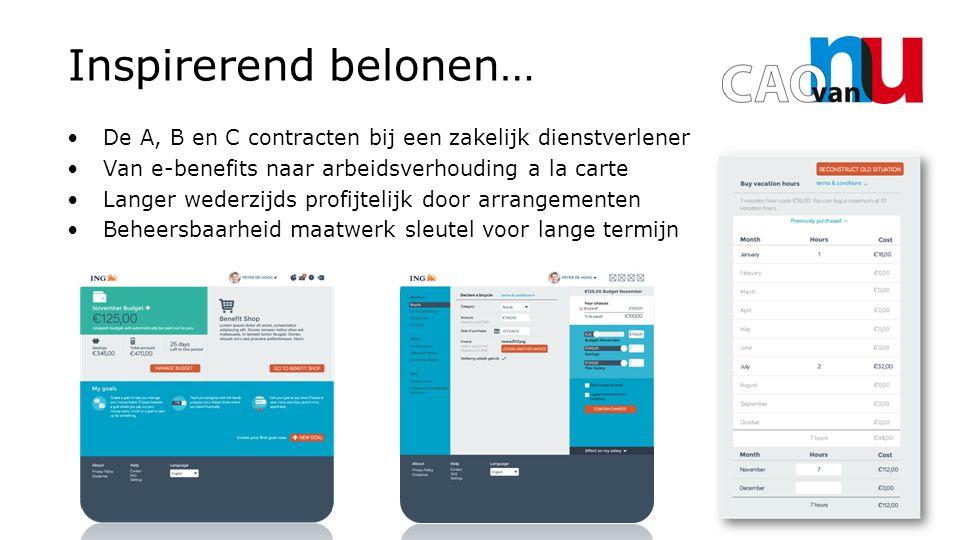 De A, B en C contracten bij een zakelijk dienstverlener Van e-benefits naar arbeidsverhouding a la carte Langer wederzijds profijtelijk door arrangementen Beheersbaarheid maatwerk sleutel voor lange termijn