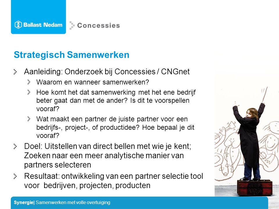 Synergie| Samenwerken met volle overtuiging Strategisch Samenwerken Aanleiding: Onderzoek bij Concessies / CNGnet Waarom en wanneer samenwerken.