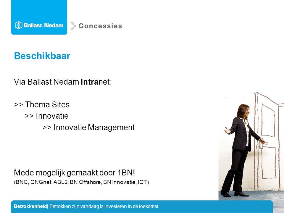 Betrokkenheid| Betrokken zijn vandaag is investeren in de toekomst Beschikbaar Via Ballast Nedam Intranet: >> Thema Sites >> Innovatie >> Innovatie Management Mede mogelijk gemaakt door 1BN.