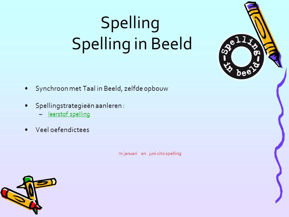 Spelling Spelling in Beeld Synchroon met Taal in Beeld, zelfde opbouw Spellingstrategieën aanleren : –leerstof spellingleerstof spelling Veel oefendic