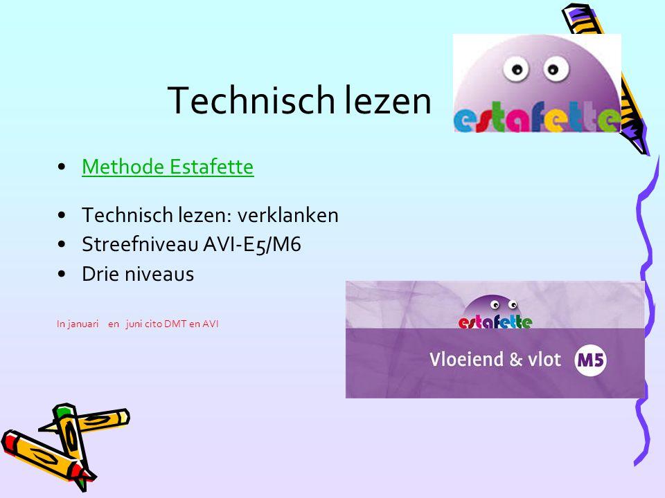 Technisch lezen Methode Estafette Technisch lezen: verklanken Streefniveau AVI-E5/M6 Drie niveaus In januari en juni cito DMT en AVI
