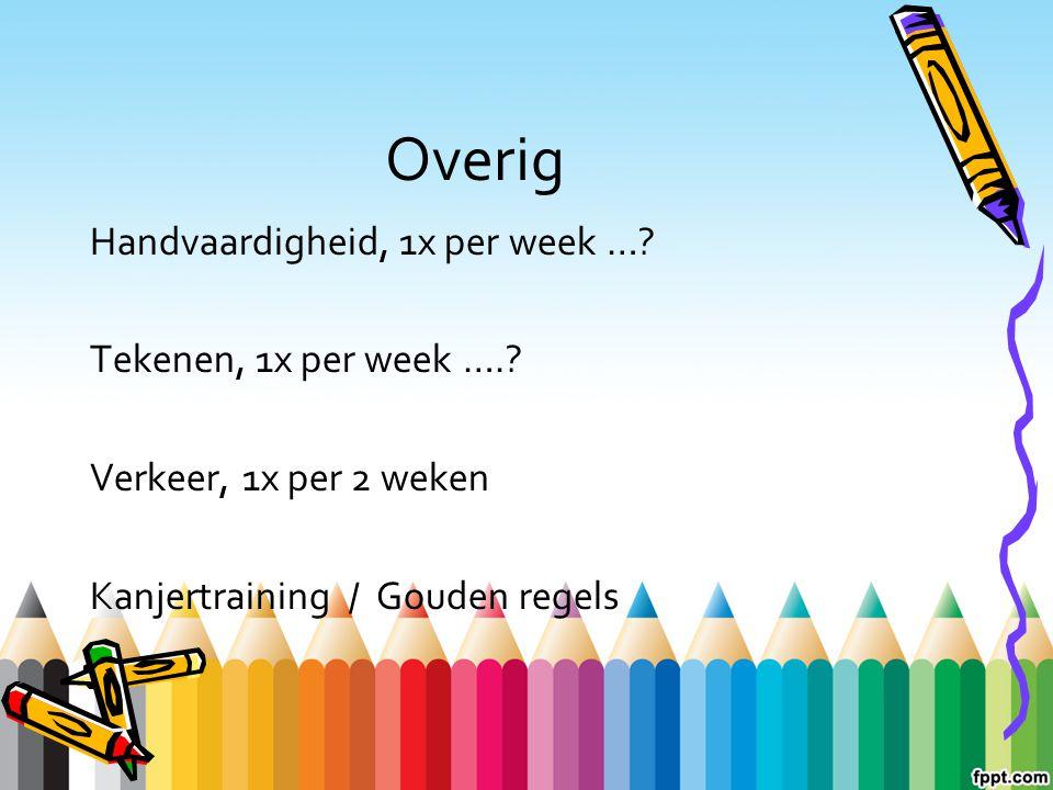 Overig Handvaardigheid, 1x per week …? Tekenen, 1x per week ….? Verkeer, 1x per 2 weken Kanjertraining / Gouden regels