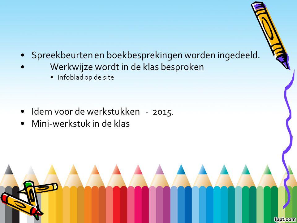 Spreekbeurten en boekbesprekingen worden ingedeeld. Werkwijze wordt in de klas besproken Infoblad op de site Idem voor de werkstukken - 2015. Mini-wer