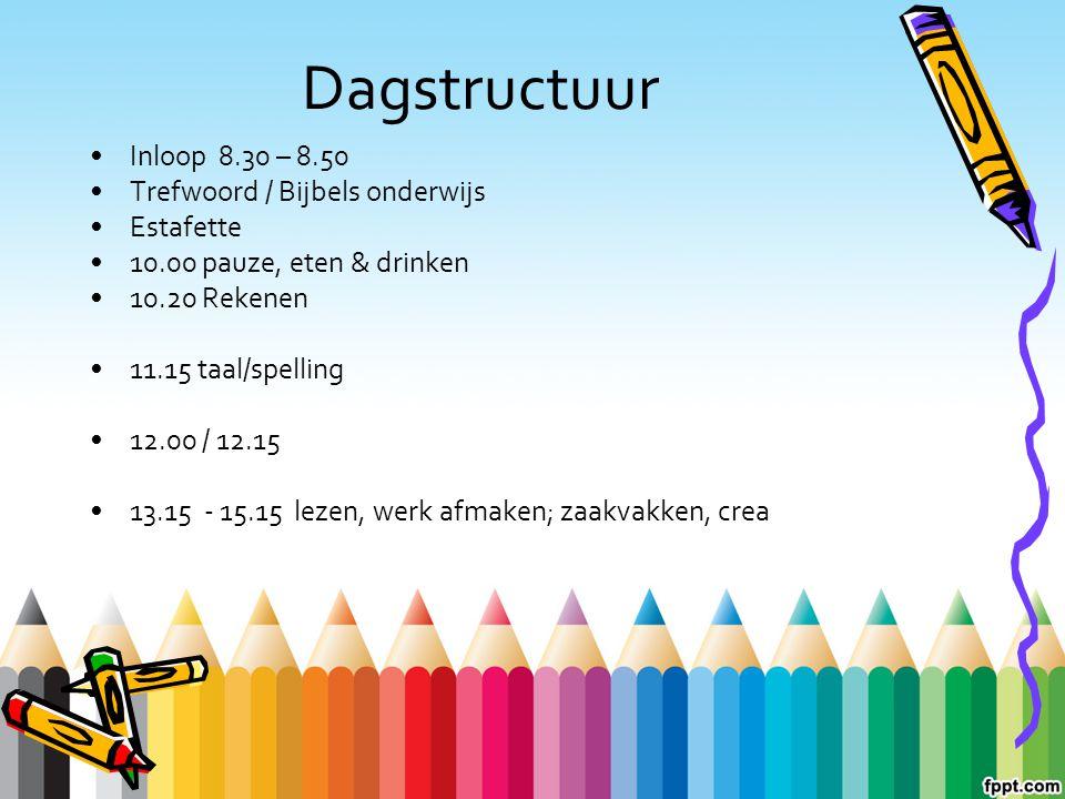 Dagstructuur Inloop 8.30 – 8.50 Trefwoord / Bijbels onderwijs Estafette 10.00 pauze, eten & drinken 10.20 Rekenen 11.15 taal/spelling 12.00 / 12.15 13