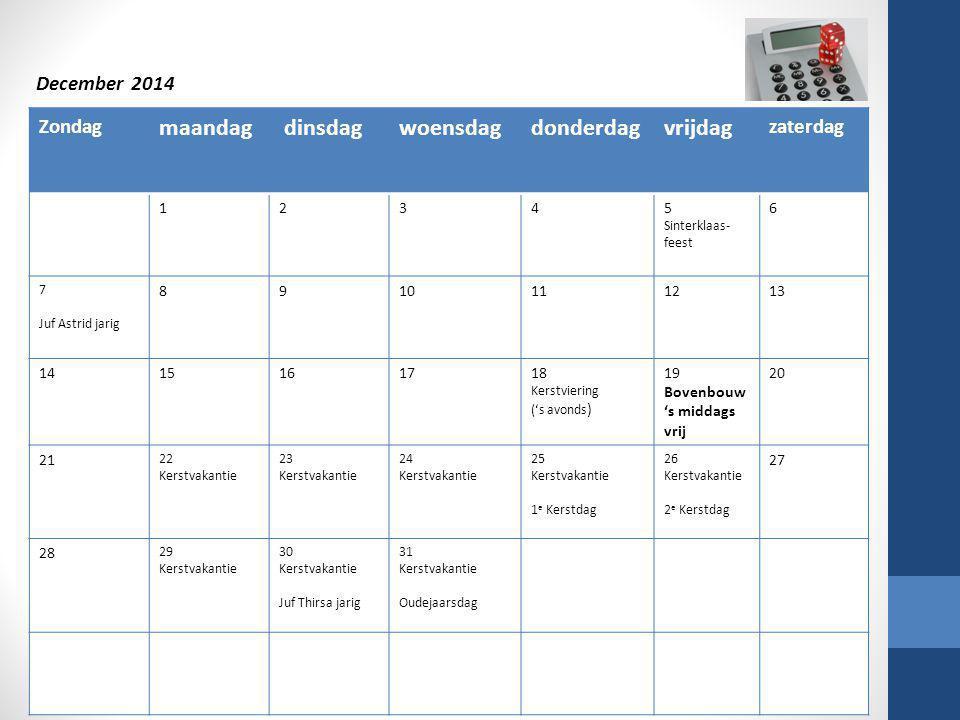 Zondag maandag dinsdagwoensdagdonderdagvrijdag zaterdag 12345 Sinterklaas- feest 6 7 Juf Astrid jarig 8910111213 1415161718 Kerstviering ('s avonds )