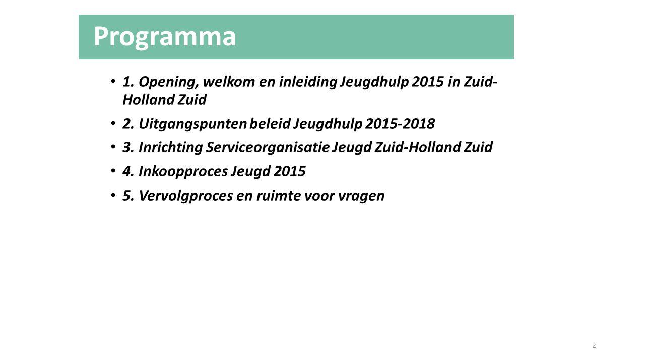 Programma 1. Opening, welkom en inleiding Jeugdhulp 2015 in Zuid- Holland Zuid 2. Uitgangspunten beleid Jeugdhulp 2015-2018 3. Inrichting Serviceorgan