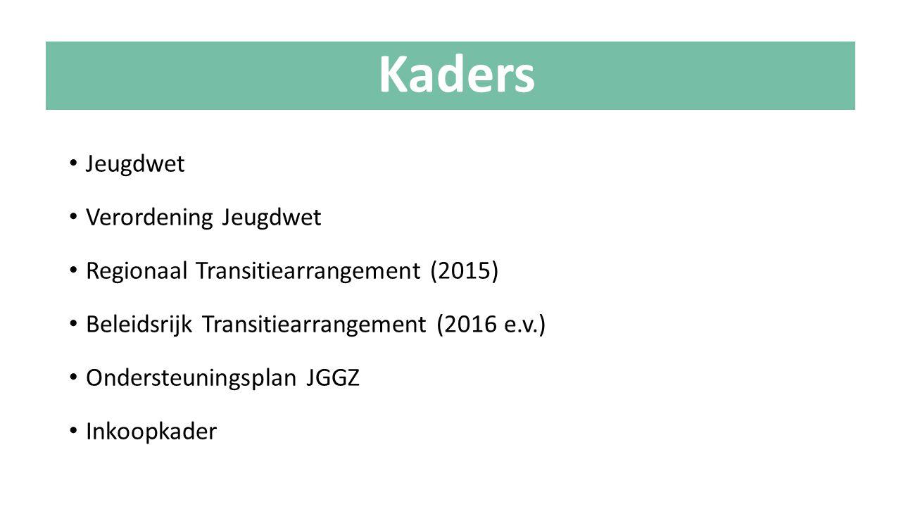 Jeugdwet Verordening Jeugdwet Regionaal Transitiearrangement (2015) Beleidsrijk Transitiearrangement (2016 e.v.) Ondersteuningsplan JGGZ Inkoopkader K