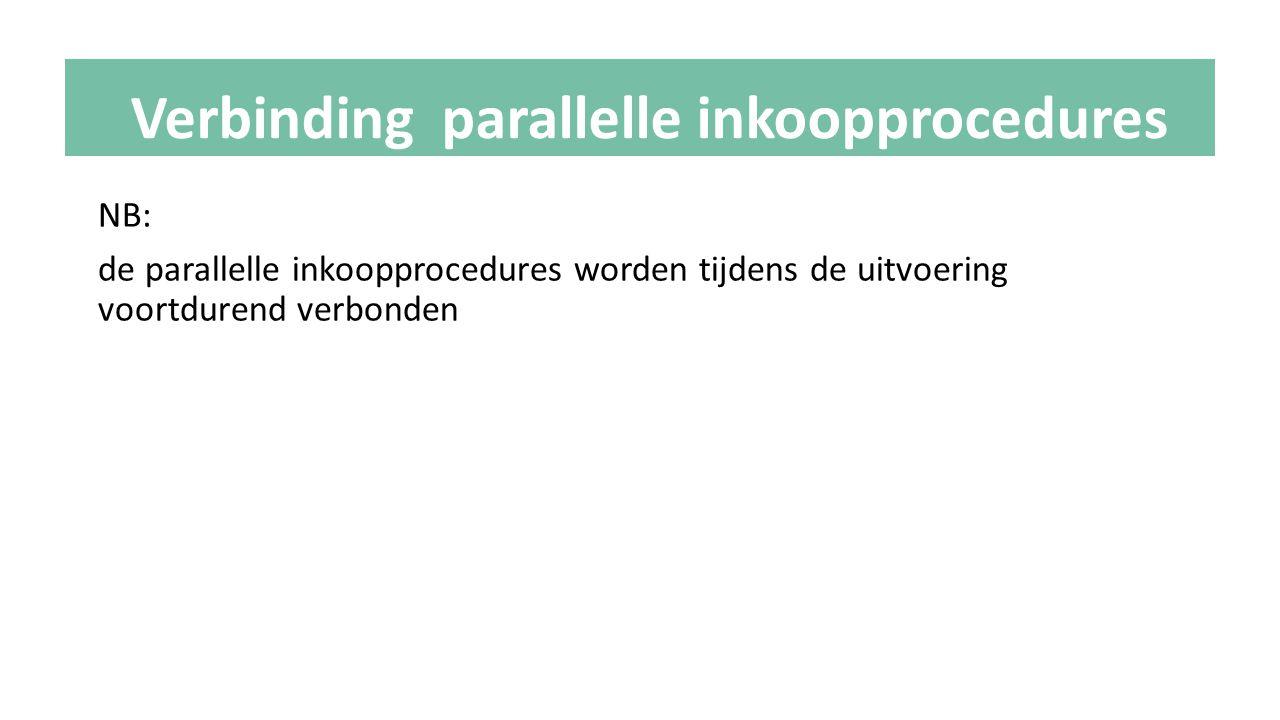 NB: de parallelle inkoopprocedures worden tijdens de uitvoering voortdurend verbonden Verbinding parallelle inkoopprocedures
