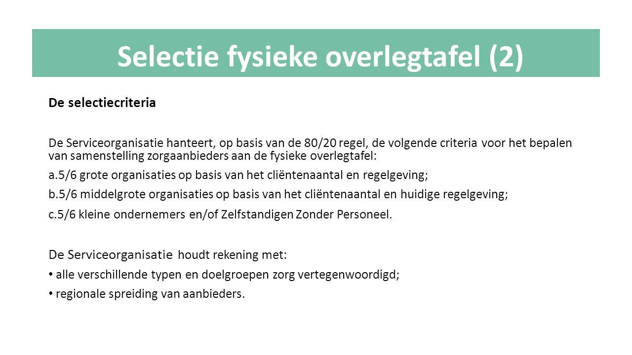 De selectiecriteria De Serviceorganisatie hanteert, op basis van de 80/20 regel, de volgende criteria voor het bepalen van samenstelling zorgaanbieder