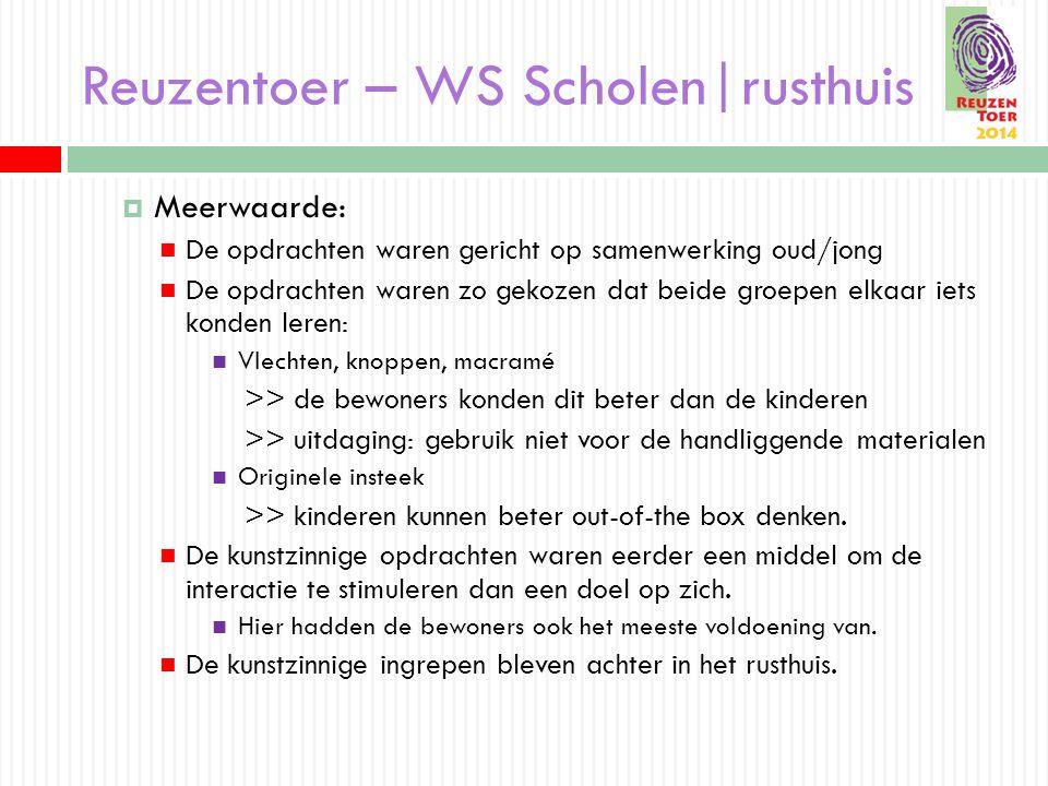 Reuzentoer – WS Scholen|rusthuis  Meerwaarde: De opdrachten waren gericht op samenwerking oud/jong De opdrachten waren zo gekozen dat beide groepen e