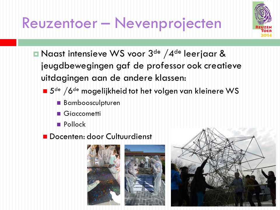 Reuzentoer – Nevenprojecten  Naast intensieve WS voor 3 de /4 de leerjaar & jeugdbewegingen gaf de professor ook creatieve uitdagingen aan de andere