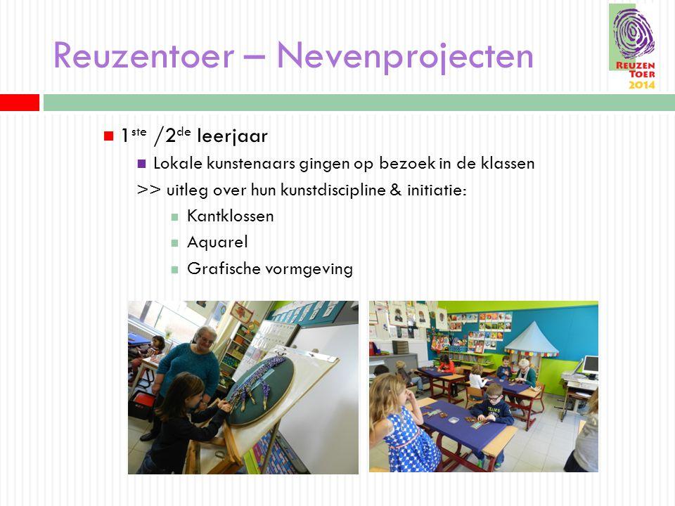 Reuzentoer – Nevenprojecten 1 ste /2 de leerjaar Lokale kunstenaars gingen op bezoek in de klassen >> uitleg over hun kunstdiscipline & initiatie: Kantklossen Aquarel Grafische vormgeving