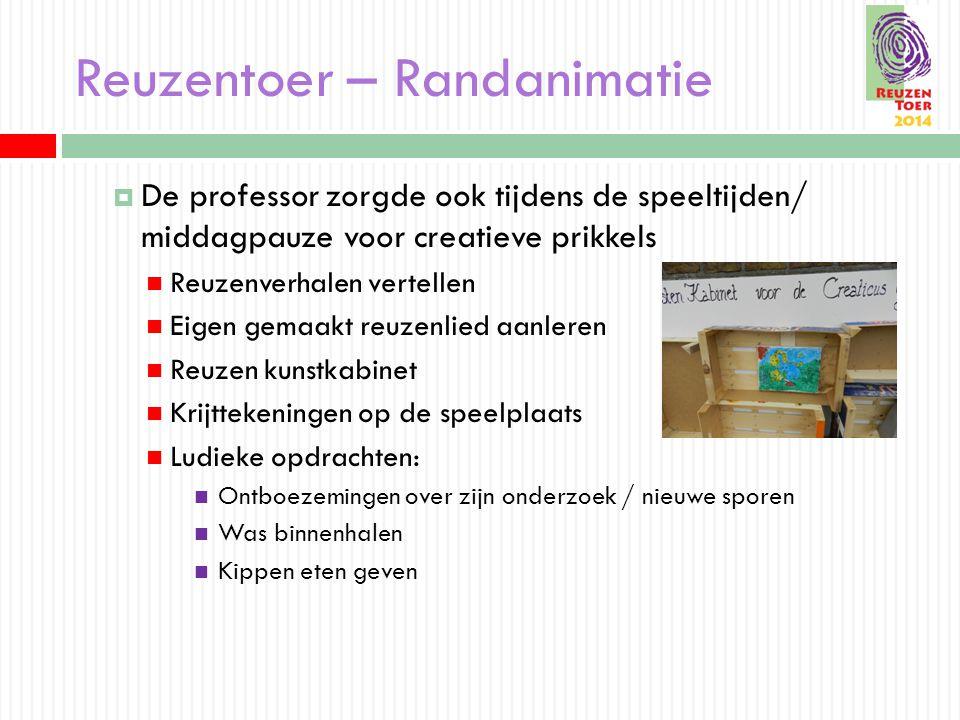 Reuzentoer – Randanimatie  De professor zorgde ook tijdens de speeltijden/ middagpauze voor creatieve prikkels Reuzenverhalen vertellen Eigen gemaakt