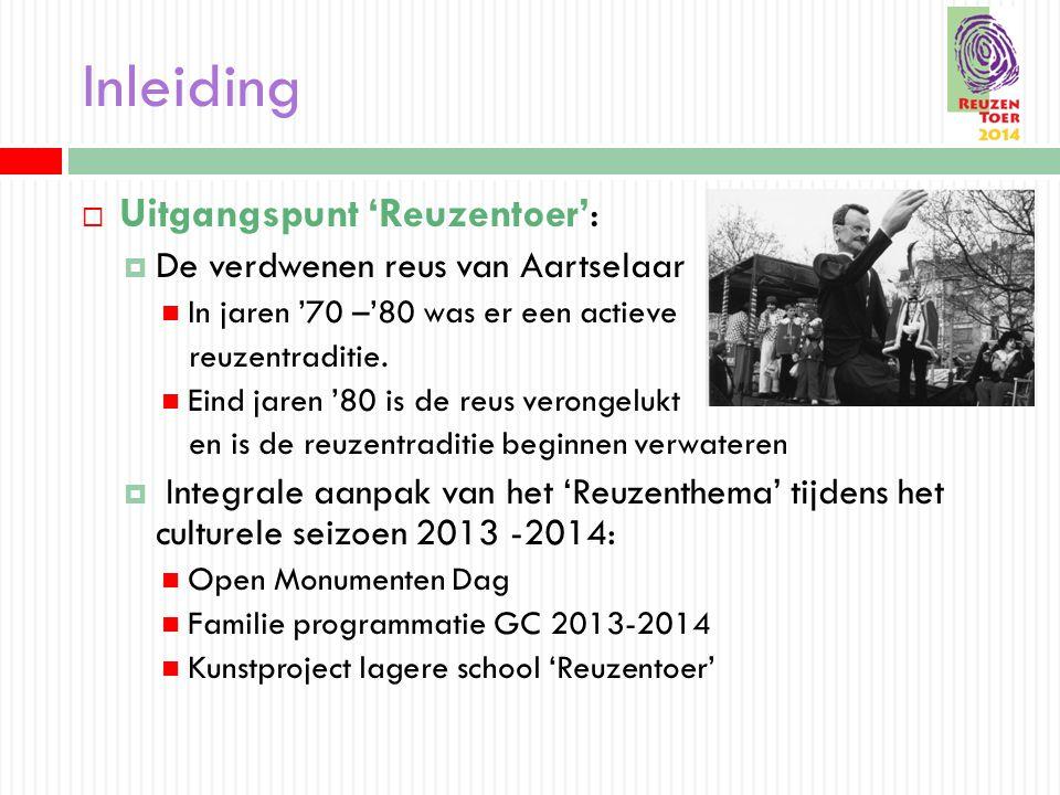 Inleiding  Uitgangspunt 'Reuzentoer':  De verdwenen reus van Aartselaar In jaren '70 –'80 was er een actieve reuzentraditie.