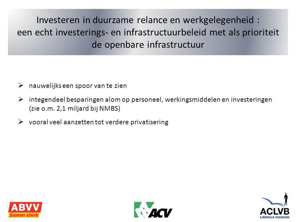 Investeren in duurzame relance en werkgelegenheid : een echt investerings- en infrastructuurbeleid met als prioriteit de openbare infrastructuur  nauwelijks een spoor van te zien  integendeel besparingen alom op personeel, werkingsmiddelen en investeringen (zie o.m.