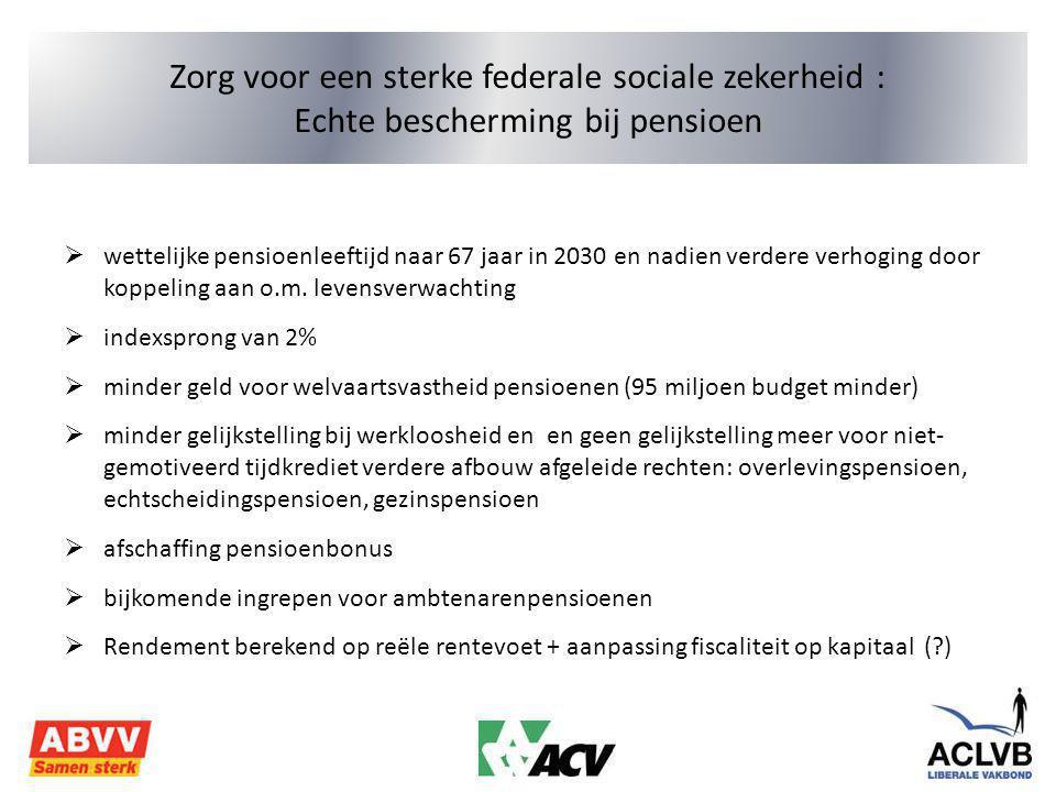 Zorg voor een sterke federale sociale zekerheid : Echte bescherming bij pensioen  wettelijke pensioenleeftijd naar 67 jaar in 2030 en nadien verdere verhoging door koppeling aan o.m.