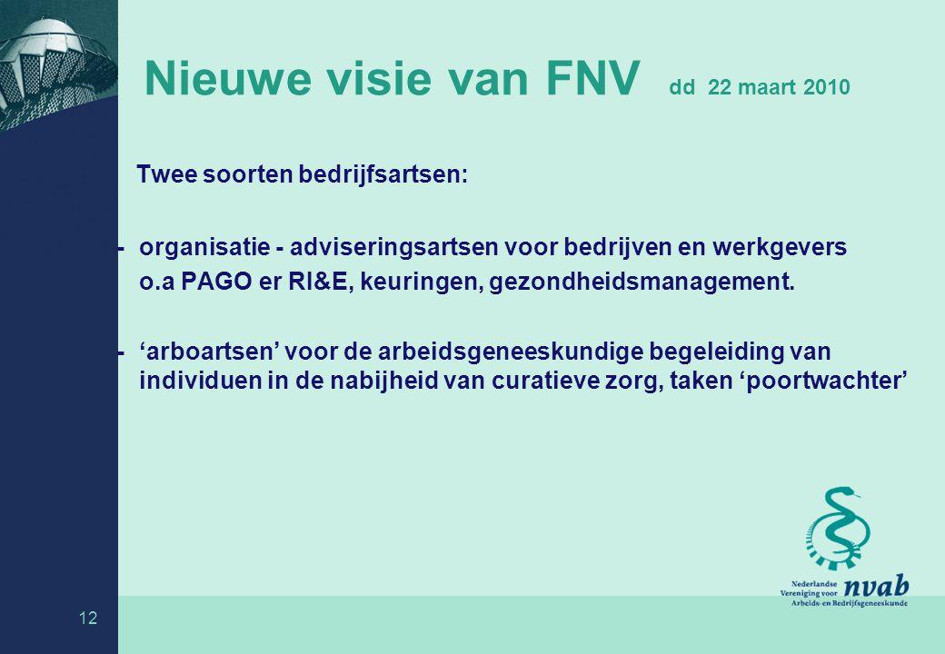 Nieuwe visie van FNV dd 22 maart 2010 Twee soorten bedrijfsartsen: - organisatie - adviseringsartsen voor bedrijven en werkgevers o.a PAGO er RI&E, keuringen, gezondheidsmanagement.