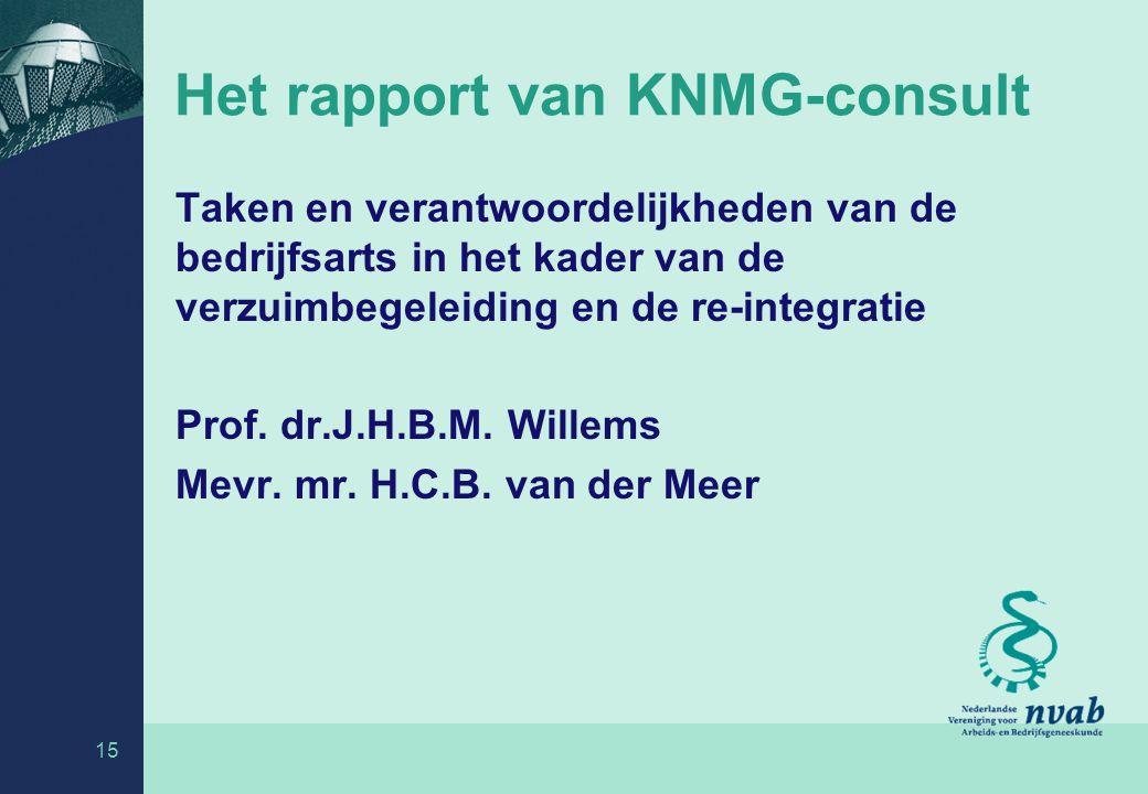 Het rapport van KNMG-consult Taken en verantwoordelijkheden van de bedrijfsarts in het kader van de verzuimbegeleiding en de re-integratie Prof.