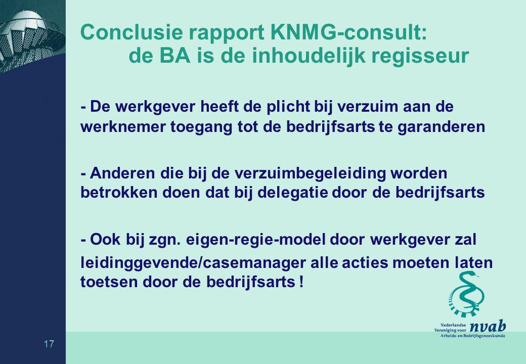 Conclusie rapport KNMG-consult: de BA is de inhoudelijk regisseur - De werkgever heeft de plicht bij verzuim aan de werknemer toegang tot de bedrijfsarts te garanderen - Anderen die bij de verzuimbegeleiding worden betrokken doen dat bij delegatie door de bedrijfsarts - Ook bij zgn.