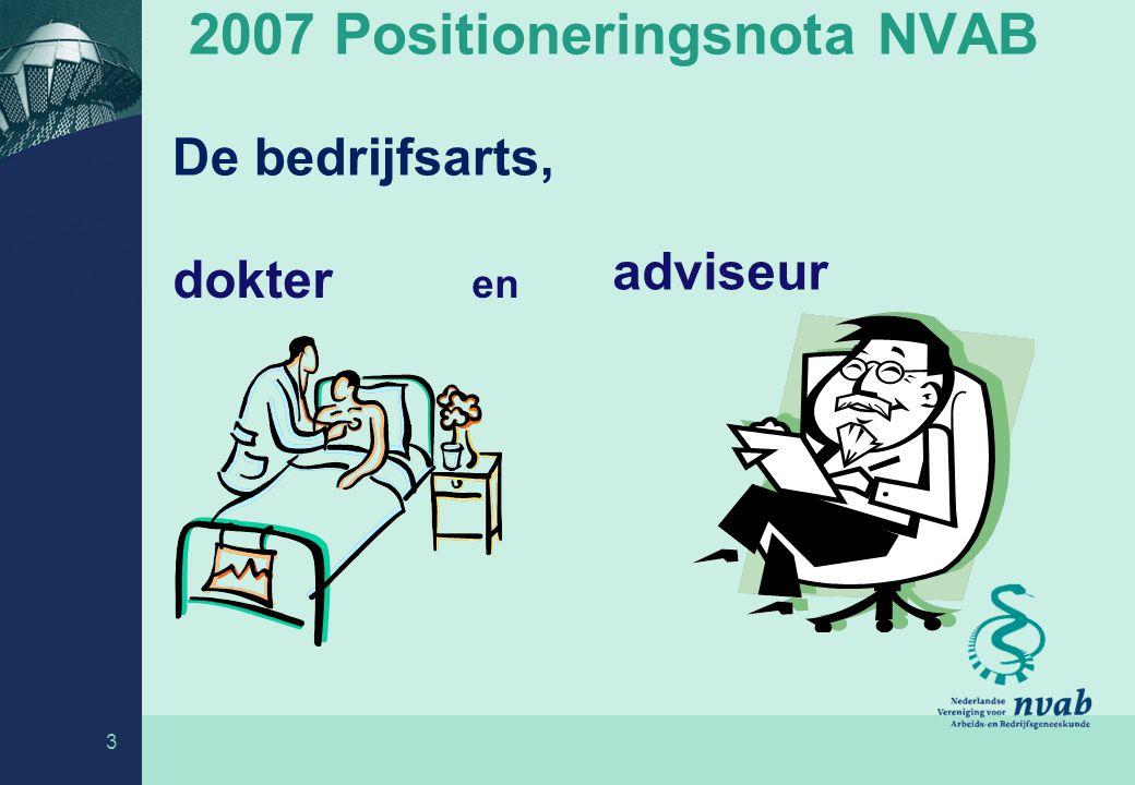 2007 Positioneringsnota NVAB - de bedrijfsgeneeskunde maakt deel uit van de eerstelijns zorg - de bedrijfsarts is medisch adviseur van bedrijven - de bedrijfsarts heeft individuele zorgtaken: begeleiden bij verzuim is ook behandelen -niet alleen werknemers zijn gebaat bij de expertise van de bedrijfsarts: het participatie-principe 4