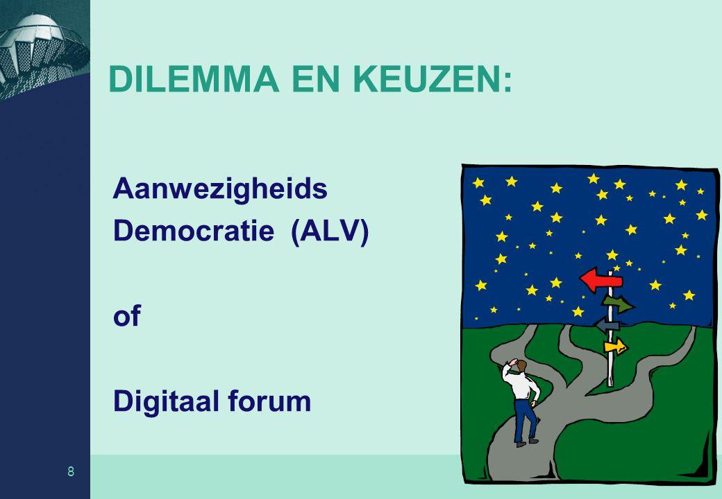 DILEMMA EN KEUZEN: Aanwezigheids Democratie (ALV) of Digitaal forum 8