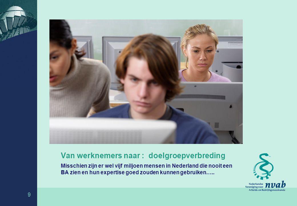 Van werknemers naar : doelgroepverbreding Misschien zijn er wel vijf miljoen mensen in Nederland die nooit een BA zien en hun expertise goed zouden kunnen gebruiken…..