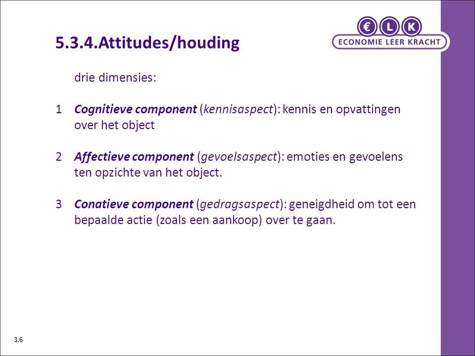 5.3.4.Attitudes/houding drie dimensies: 1Cognitieve component (kennisaspect): kennis en opvattingen over het object 2Affectieve component (gevoelsaspe