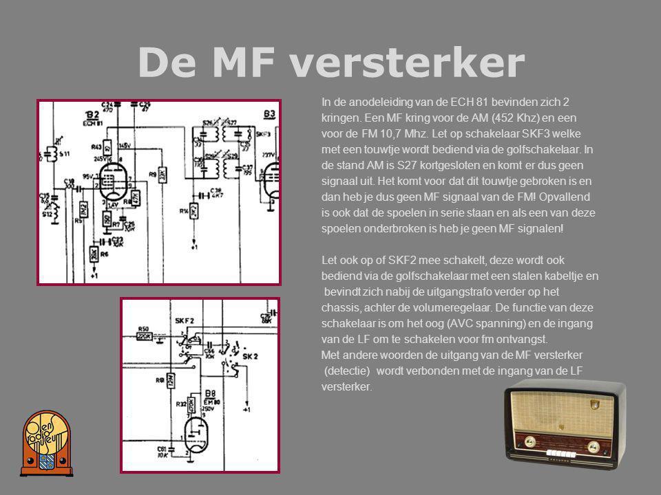 De MF versterker In de anodeleiding van de ECH 81 bevinden zich 2 kringen. Een MF kring voor de AM (452 Khz) en een voor de FM 10,7 Mhz. Let op schake