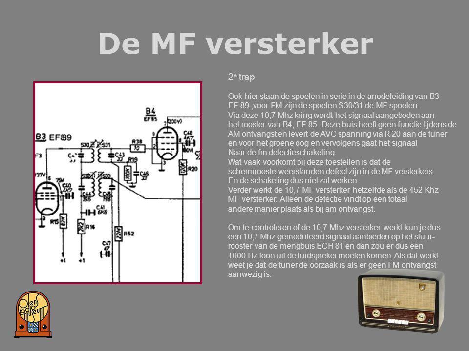 De MF versterker 2 e trap Ook hier staan de spoelen in serie in de anodeleiding van B3 EF 89.,voor FM zijn de spoelen S30/31 de MF spoelen. Via deze 1