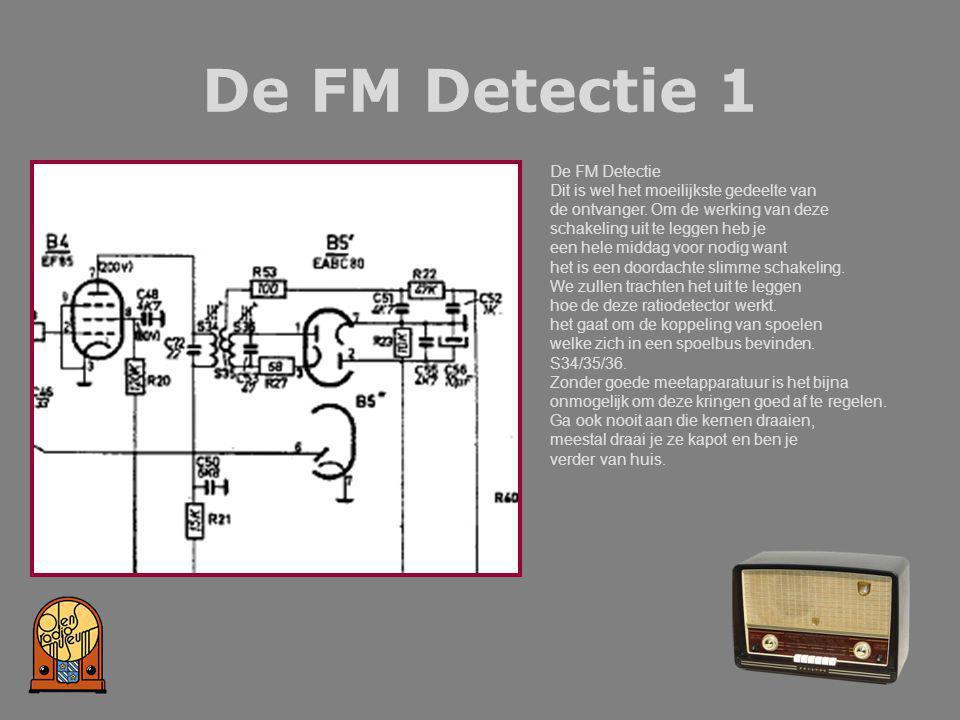 De FM Detectie 1 De FM Detectie Dit is wel het moeilijkste gedeelte van de ontvanger. Om de werking van deze schakeling uit te leggen heb je een hele