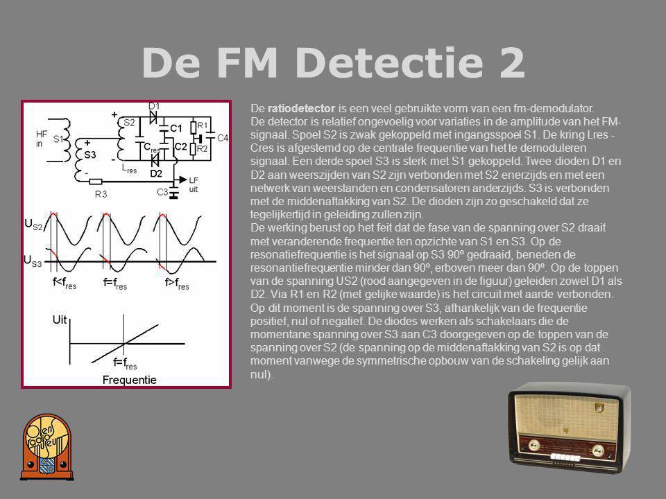 De FM Detectie 2 De ratiodetector is een veel gebruikte vorm van een fm-demodulator. De detector is relatief ongevoelig voor variaties in de amplitude