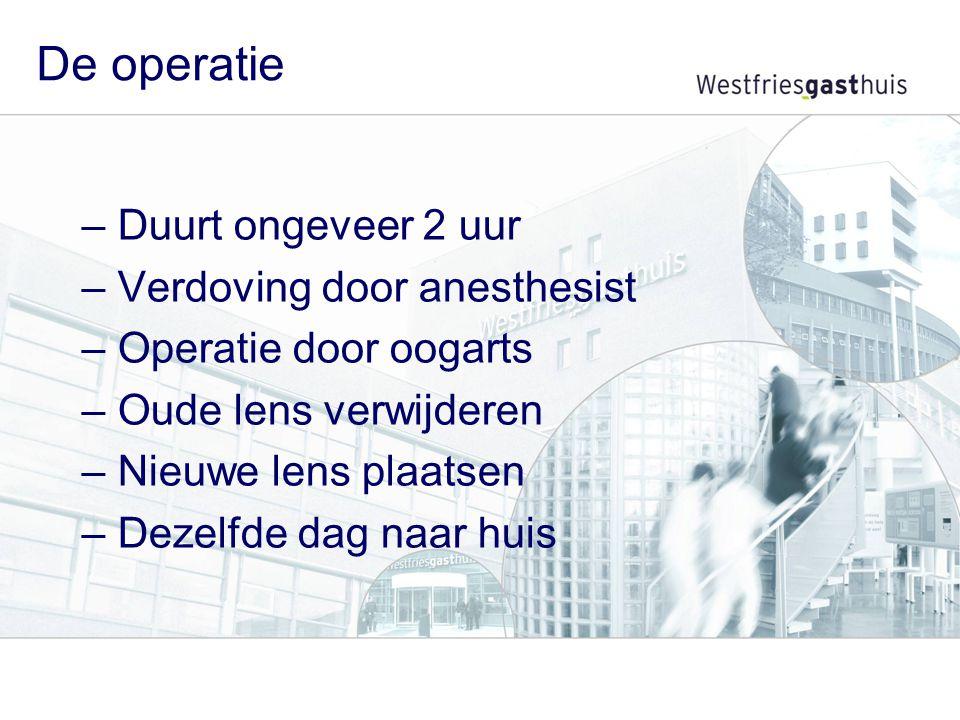De operatie –Duurt ongeveer 2 uur –Verdoving door anesthesist –Operatie door oogarts –Oude lens verwijderen –Nieuwe lens plaatsen –Dezelfde dag naar h
