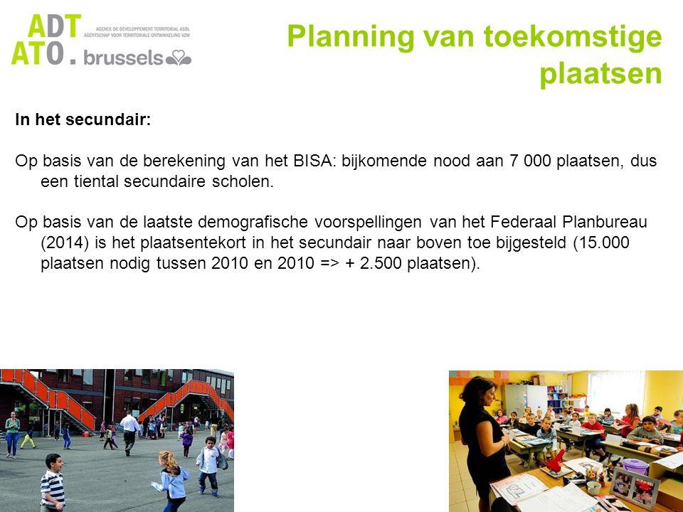 Planning van toekomstige plaatsen In het secundair: Op basis van de berekening van het BISA: bijkomende nood aan 7 000 plaatsen, dus een tiental secundaire scholen.