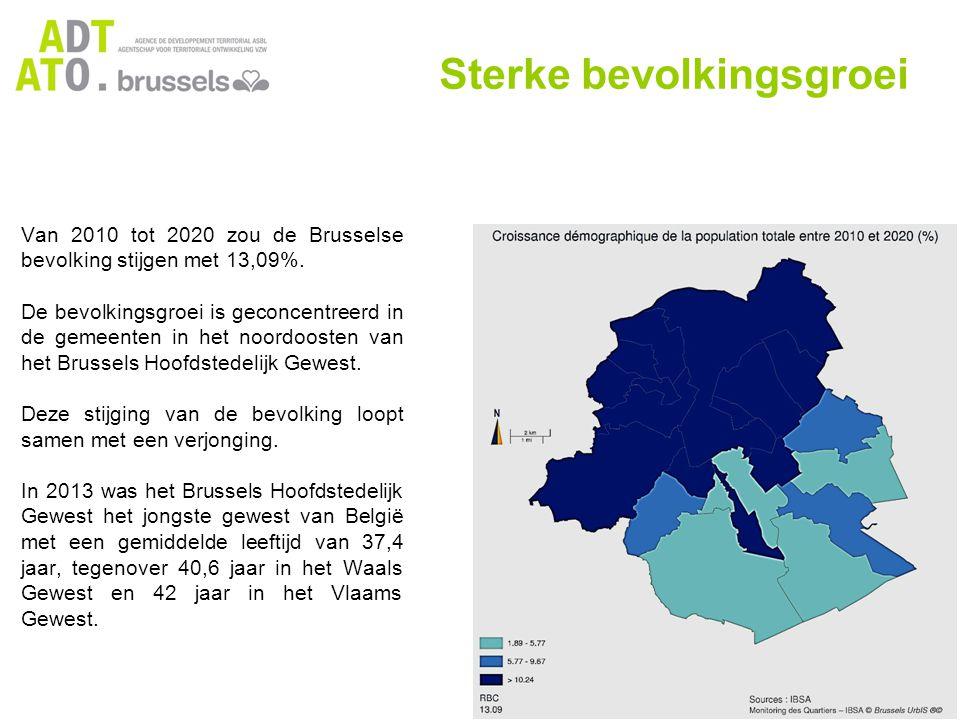 De gemeenten in de eerste kroon zijn het jongste, met een bijzonder lage gemiddelde leeftijd in Molenbeek, Schaarbeek en Sint-Joost en een zeer hoog percentage min-18-jarigen (26% in Koekelberg en Sint-Joost, 28% in Molenbeek).