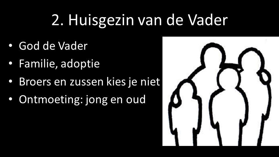 2. Huisgezin van de Vader God de Vader Familie, adoptie Broers en zussen kies je niet Ontmoeting: jong en oud