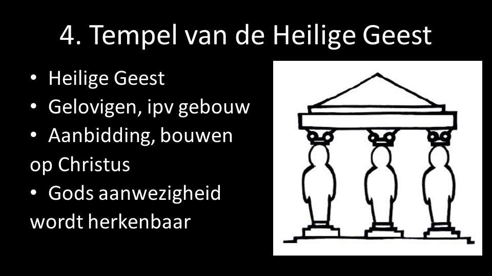 4. Tempel van de Heilige Geest Heilige Geest Gelovigen, ipv gebouw Aanbidding, bouwen op Christus Gods aanwezigheid wordt herkenbaar