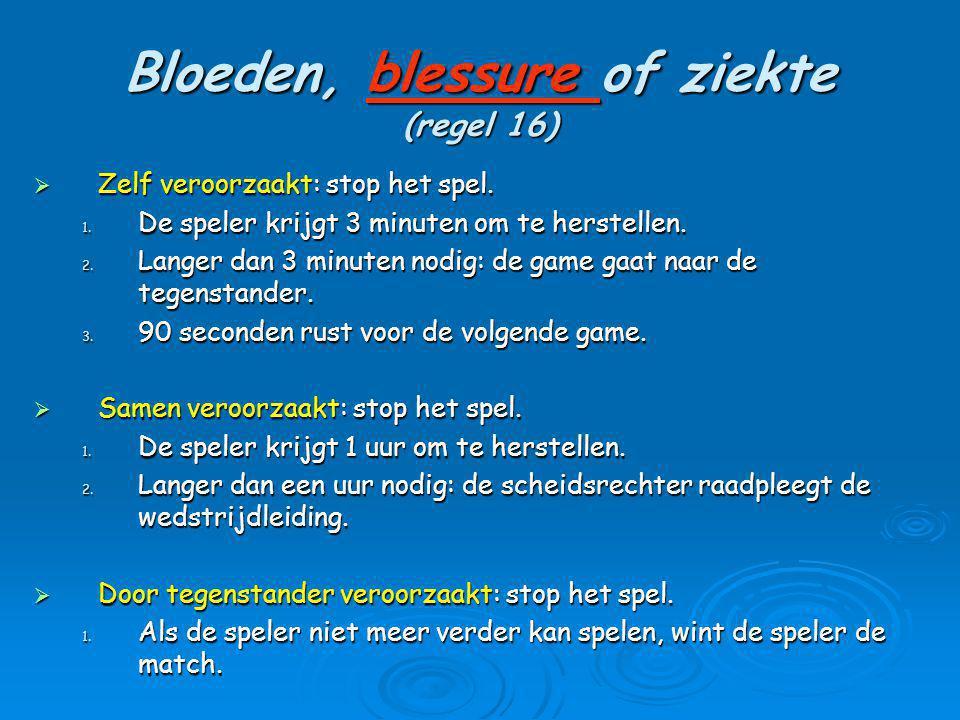Bloeden, blessure of ziekte (regel 16)  Zelf veroorzaakt: stop het spel. 1. De speler krijgt 3 minuten om te herstellen. 2. Langer dan 3 minuten nodi