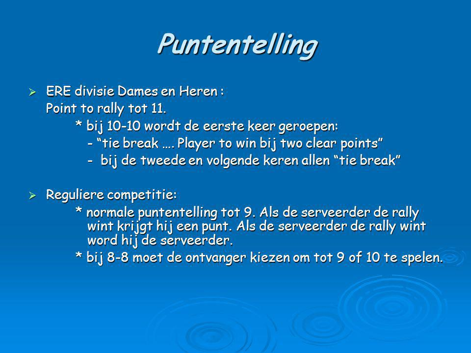 Puntentelling  ERE divisie Dames en Heren : Point to rally tot 11.