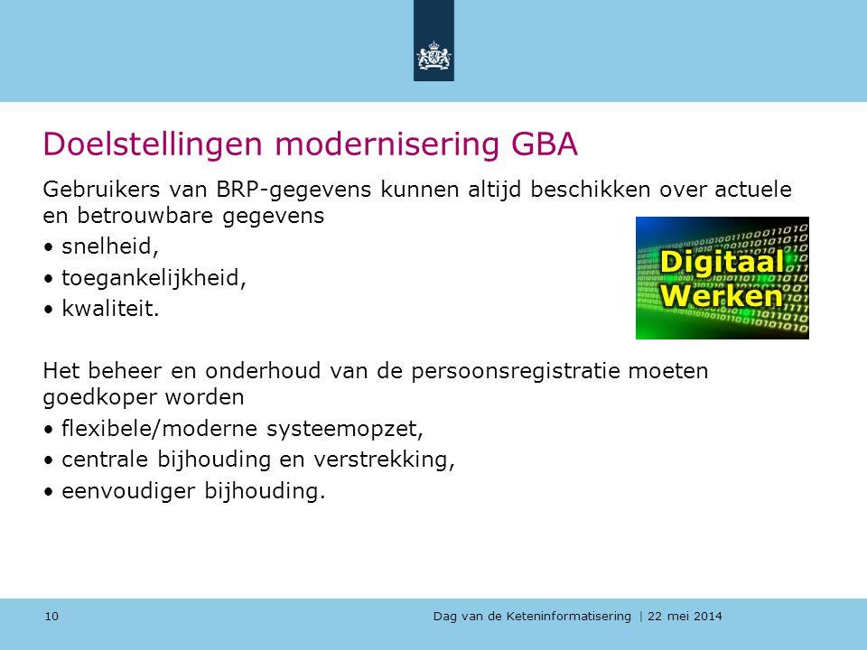Dag van de Keteninformatisering   22 mei 2014 Doelstellingen modernisering GBA Gebruikers van BRP-gegevens kunnen altijd beschikken over actuele en be