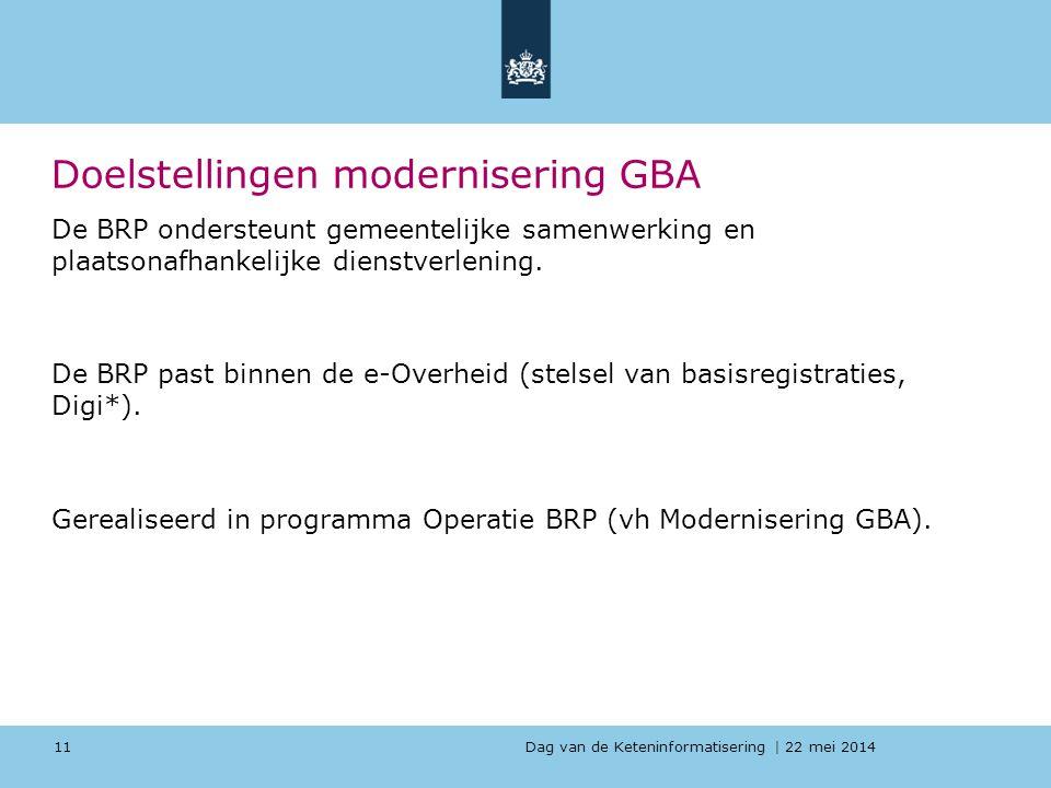 Dag van de Keteninformatisering   22 mei 2014 Doelstellingen modernisering GBA De BRP ondersteunt gemeentelijke samenwerking en plaatsonafhankelijke d