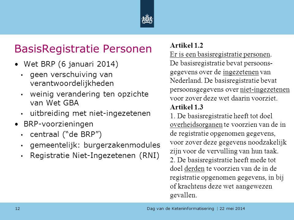 Dag van de Keteninformatisering   22 mei 2014 BasisRegistratie Personen Wet BRP (6 januari 2014) geen verschuiving van verantwoordelijkheden weinig ve