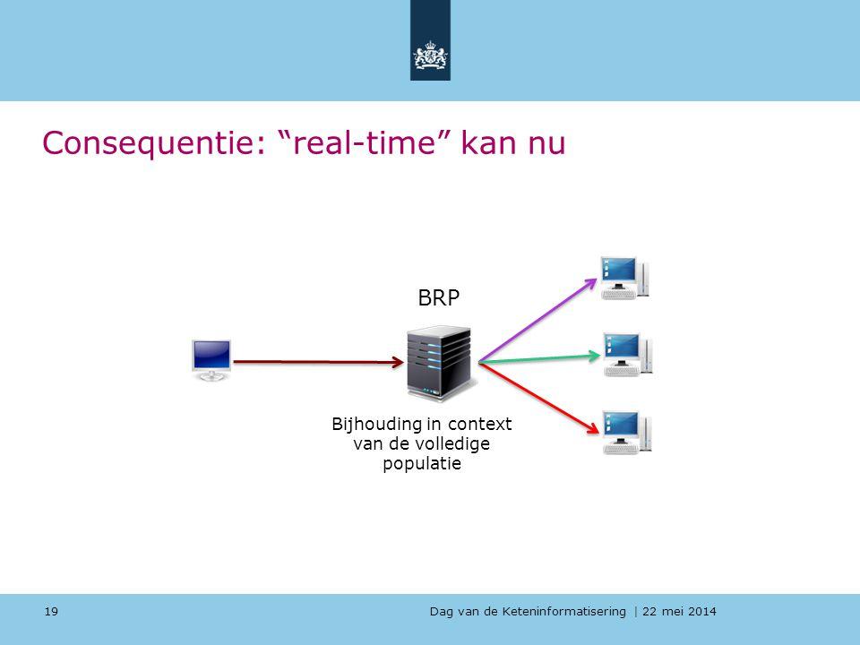 """Dag van de Keteninformatisering   22 mei 2014 Consequentie: """"real-time"""" kan nu 19 BRP Bijhouding in context van de volledige populatie"""