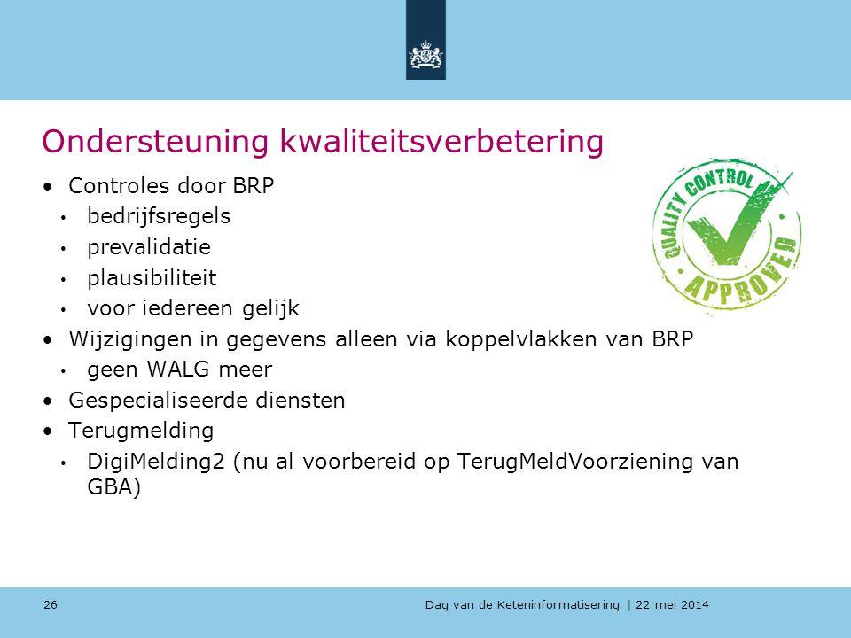 Dag van de Keteninformatisering   22 mei 2014 Ondersteuning kwaliteitsverbetering Controles door BRP bedrijfsregels prevalidatie plausibiliteit voor i