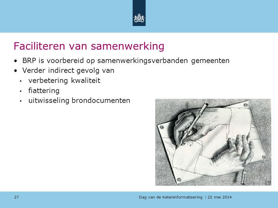 Dag van de Keteninformatisering   22 mei 2014 Faciliteren van samenwerking BRP is voorbereid op samenwerkingsverbanden gemeenten Verder indirect gevol