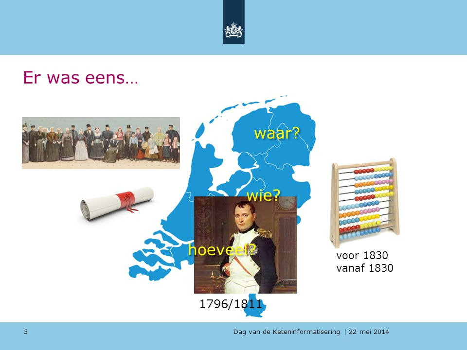 Dag van de Keteninformatisering   22 mei 2014 Er was eens… 3 1796/1811 voor 1830 vanaf 1830 waar? wie? hoeveel?