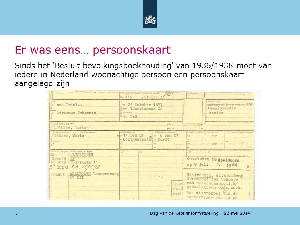 Dag van de Keteninformatisering   22 mei 2014 Er was eens… persoonskaart Sinds het 'Besluit bevolkingsboekhouding' van 1936/1938 moet van iedere in Ne