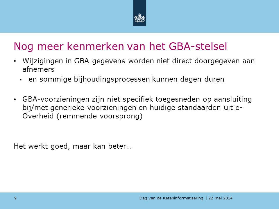 Dag van de Keteninformatisering   22 mei 2014 Nog meer kenmerken van het GBA-stelsel Wijzigingen in GBA-gegevens worden niet direct doorgegeven aan af