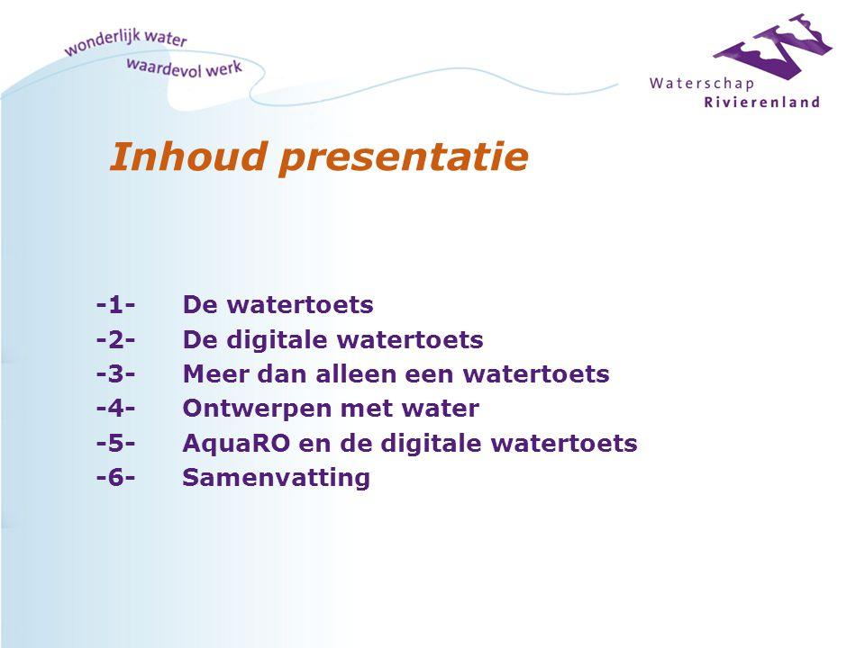 Groepering van de 8 thema's of bouwstenen: in 6 niveaus l Waterkerend (veiligheid hoog water) l Waterbeheersend (Droge voeten, Hygiëne/sanitatie, Schoon&voldoende) l Waterbindend (functiecombinatie) l Watersturend (Ruimtelijke identiteit) l Klimaatsensitiviteit (Energie en koeling) l Wateradapterend (Synergie)